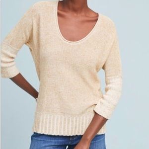 Anthropologie Moth Linen Blend Pullover Sweater M